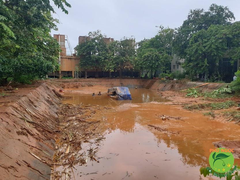 Nạo vét bùn đáy ao đảm bảo vệ sinh môi trường nuôi thủy sản
