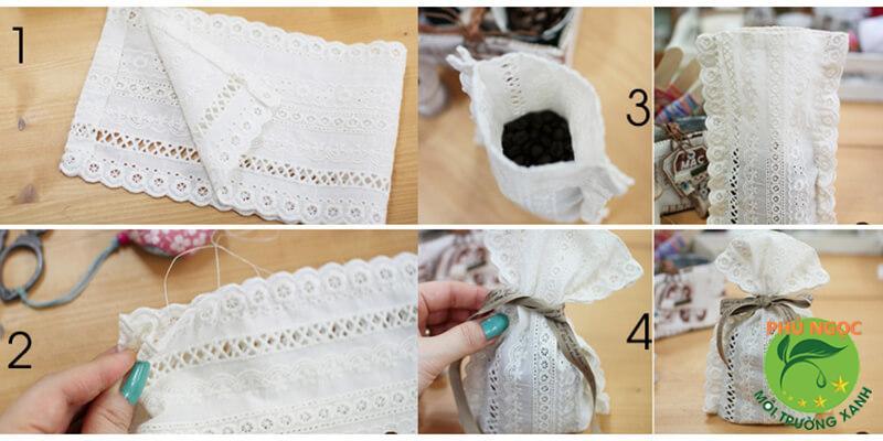 Dùng bã cà phê làm túi thơm treo trong nhà vệ sinh