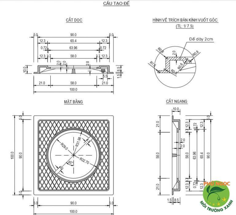 Cấu tạo nắp hố ga composite 90x90