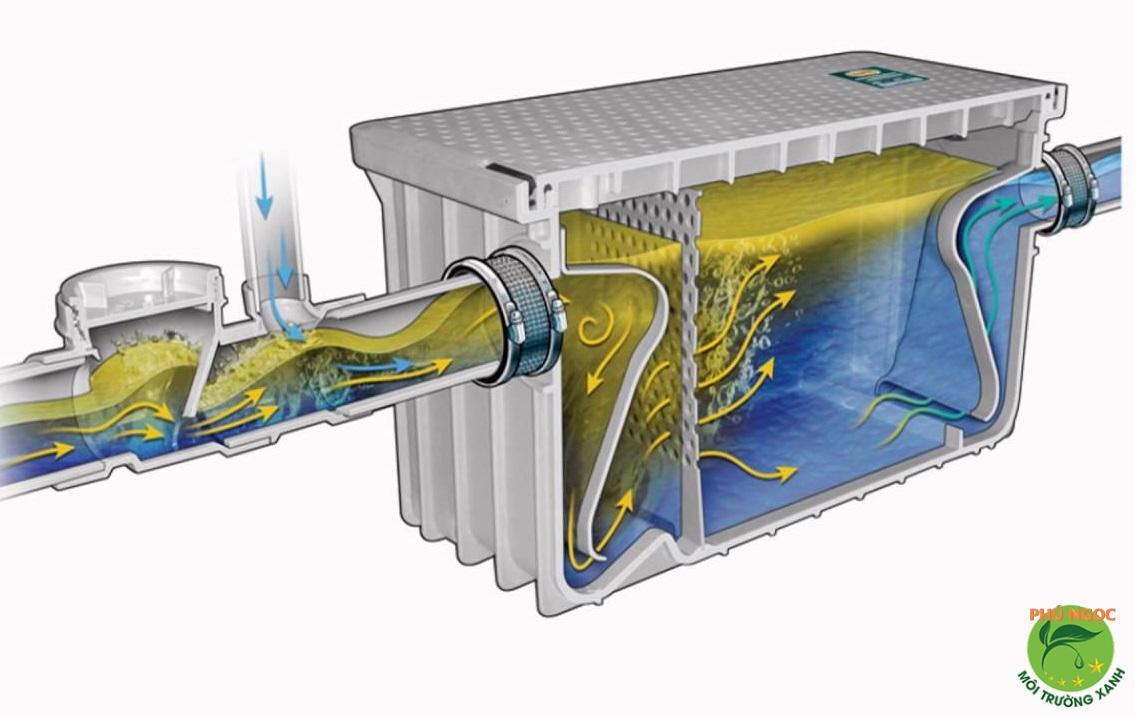 Phương thức hoạt động của bể tách dầu mỡ 3 ngăn